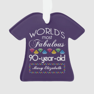 90th Birthday Most Fabulous Colorful Gems Purple Ornament