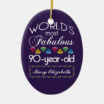 90th Birthday Most Fabulous Colorful Gems Purple Ornaments
