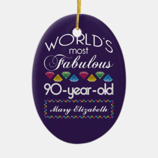 90th Birthday Most Fabulous Colorful Gems Purple Double-Sided Oval Ceramic Christmas Ornament