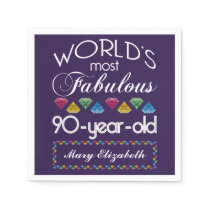 90th Birthday Most Fabulous Colorful Gems Purple Paper Napkin