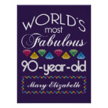 90th Birthday Most Fabulous Colorful Gems Purple Poster