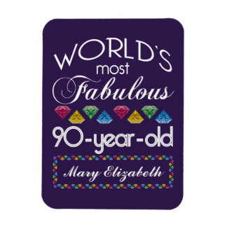 90th Birthday Most Fabulous Colorful Gems Purple Rectangle Magnet