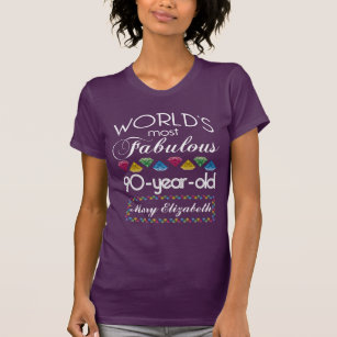 90th Birthday Most Fabulous Colorful Gems Purple T Shirt