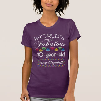 90th Birthday Most Fabulous Colorful Gems Purple T-Shirt
