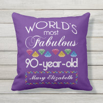 90th Birthday Most Fabulous Colorful Gems Purple Throw Pillow