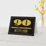 "[ Thumbnail: 90th Birthday: Name + Art Deco Inspired Look ""90"" Card ]"