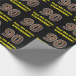 """[ Thumbnail: 90th Birthday: Name & Faux Wood Grain Pattern """"90"""" Wrapping Paper ]"""
