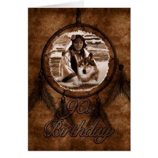 90th Birthday Native American Wolf Dreamcatcher Card