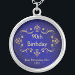 """90th Birthday Necklace - Vintage Frame Pendant<br><div class=""""desc"""">90th Birthday Keepsake Pendant Necklace -- Elegant vintage gold frame with flourished antique design -- Customize the year, or add name and date for your happy celebration. Perfect gift for your wife, mother, grandmother to commemorate your special and happy occasion. Matching cards, invitations, postage and gifts available. Other styles and...</div>"""
