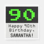 """[ Thumbnail: 90th Birthday - Nerdy / Geeky Style """"90"""" & Name Napkins ]"""