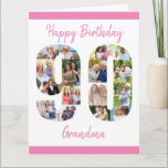 "90th Birthday Number 90 Photo Collage Big Custom Card<br><div class=""desc"">Create your own 90th Birthday Card with a unique photo collage. This big birthday card has a big number 90 cutout filled with your favorite family photos and it can be personalized for grandma, nana or with a name. The template is set up for you to edit the messages inside...</div>"