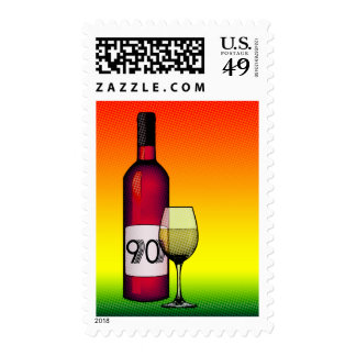 90th birthday or anniversary : wine bottle & glass postage stamps