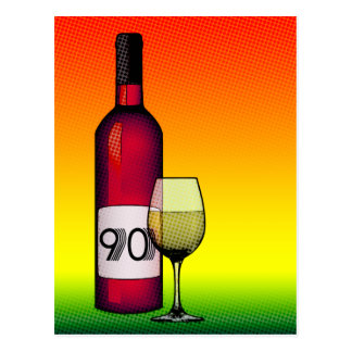 90th birthday or anniversary : wine bottle & glass postcard