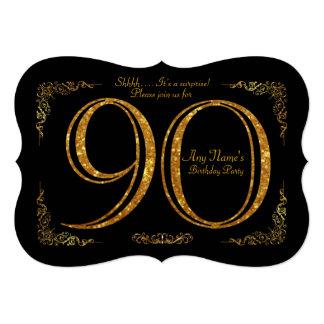 90th,Birthday party 90th,great Gatsby,black & gold Card
