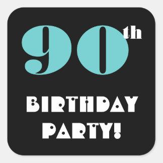 90th Birthday Party Aqua and Black Square Sticker