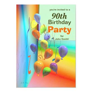 90th Birthday Party Balloon Wall Card