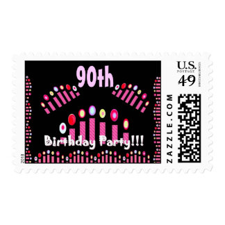 90th BIrthday Party Birthday Stamp - Pink Candles