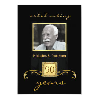 90th Birthday Party Black Gold - with photo 5x7 Paper Invitation Card