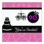 90th Birthday Party Black & White & PINK Damask In Personalized Announcement