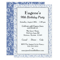 90th Birthday Party Blue and White Number Pattern Invitation