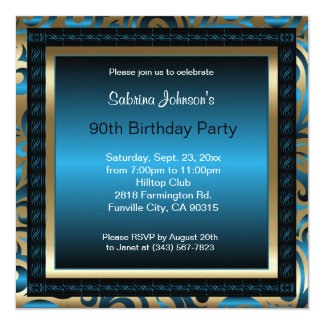 90th Birthday Party | Blue Metallic & Gold Card