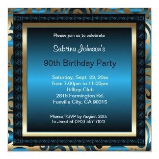 90th Birthday Party   Blue Metallic & Gold Invitation