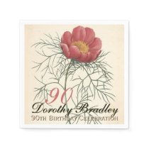 90th Birthday Party Botanical Peony Paper Napkin
