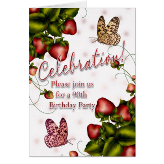 90th Birthday Party - Butterfly And Strawberry Inv Greeting Cards