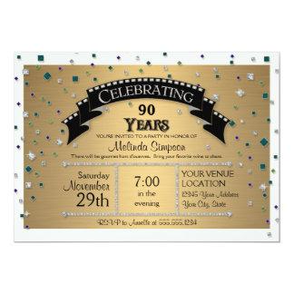 90th Birthday Party Celebrate Faux Jewel Confetti 5x7 Paper Invitation Card