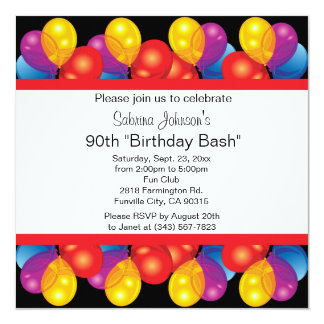 90th Birthday Party Celebration | DIY Text Card