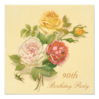 90th Birthday Party Chic Vintage Roses Card