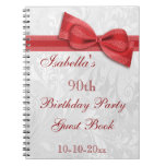 90th Birthday Party Damask and Bow Spiral Note Books