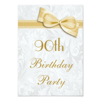 90th Birthday Party Damask and Faux Bow Card