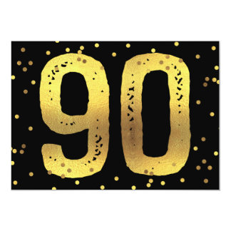 90th Birthday Party Faux Gold Foil Confetti Black Card