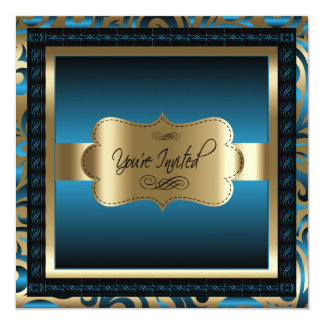 90th Birthday Party | Gold & Metallic Blue Card