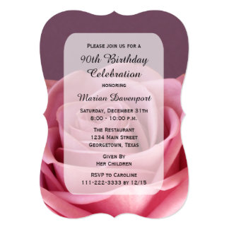 90th Birthday Party Gorgeous Rose 5x7 Paper Invitation Card