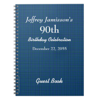 90th Birthday Party Guest Book Blue Plaid Spiral Notebook
