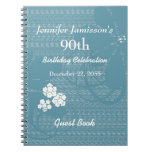 90th Birthday Party Guest Book Blue, White Floral Spiral Notebook
