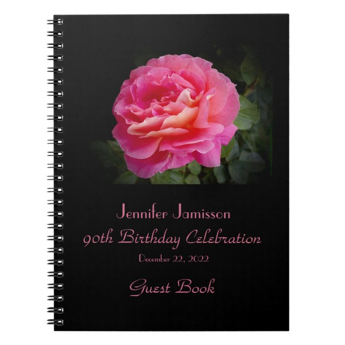 90th Birthday Party Guest Book, Pink Rose Spiral Notebook
