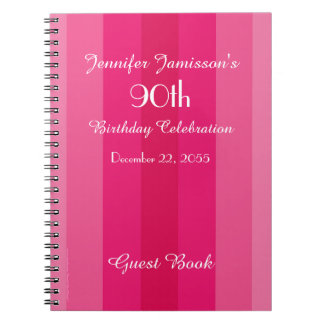 90th Birthday Party Guest Book Pink Stripe Notebook