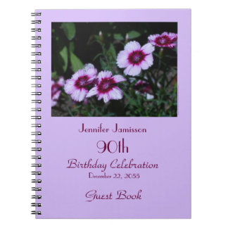 90th Birthday Party Guest Book, Purple Flowers Spiral Notebook