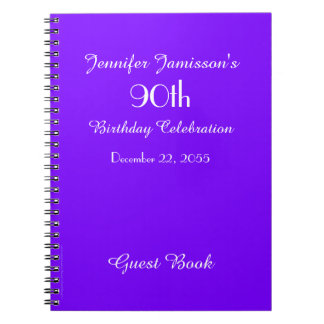 90th Birthday Party Guest Book Purple Solid Spiral Notebook