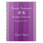 90th Birthday Party Guest Book Purple Stripe Spiral Notebook