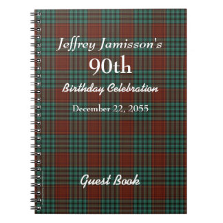 90th Birthday Party Guest Book Red & Green Plaid Spiral Notebook