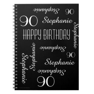 90th Birthday Party Guest Book, Repeating Names Spiral Notebook