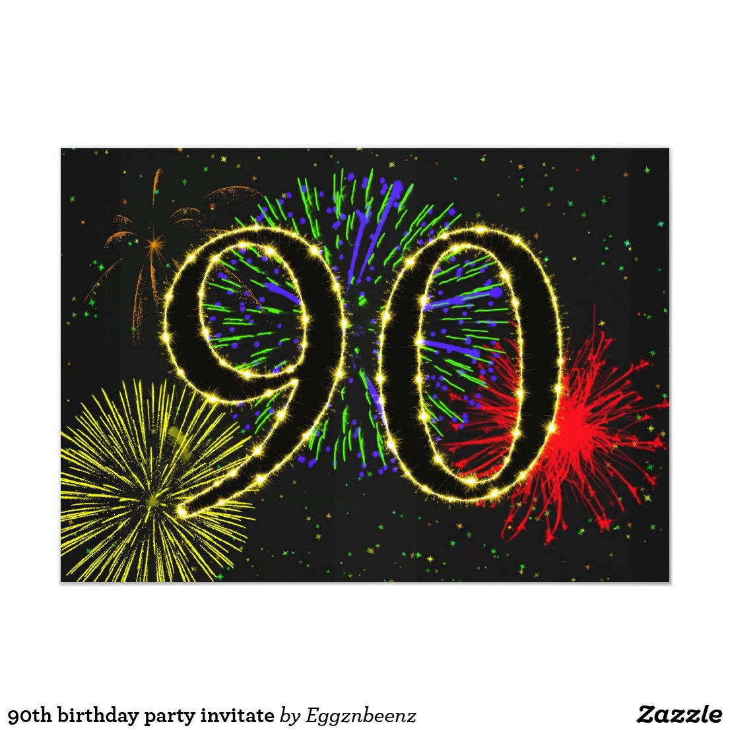 90th birthday party invitate card