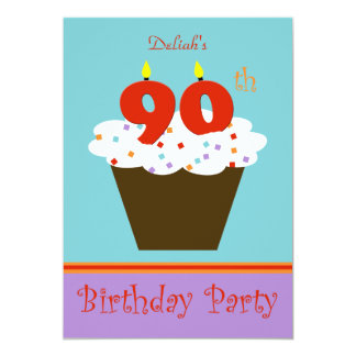 90th Birthday Party Invitation -- 90 Candles Personalized Invites