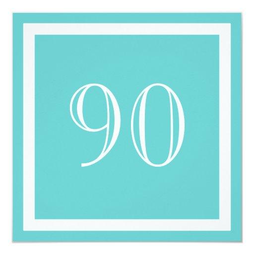 """90th Birthday Party Invitation - Aqua 5.25"""" Square Invitation Card"""