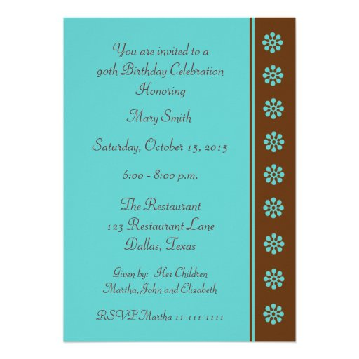 90th Birthday Party Invitation -- Aqua and Brown