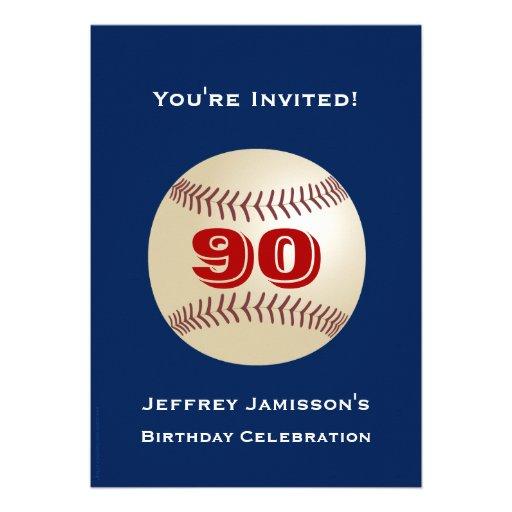 90th Birthday Party Invitation Baseball